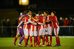 BRACKLEY HUDDLE BEFORE KICK OFF, Brackley Town v Stockport County, Buildbase FA Trophy 4th Round Replay, Tuesday 6th March 2018 Score 2-1 <br /> Photo:Mike Capps