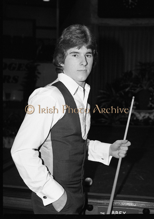 Benson and Hedges Masters Snooker.  (N62)..1981..19.02.1981..02.19.1981..19th February 1981..The quarter final of the Benson and Hedges Masters Snooker competion was held tonight at Goffs , Kill, Co Kildare. The match would be contested between Terry Griffiths and Kirk Stevens...Kirk Stevens poses for pictures ahead of his game with Terry Griffiths.