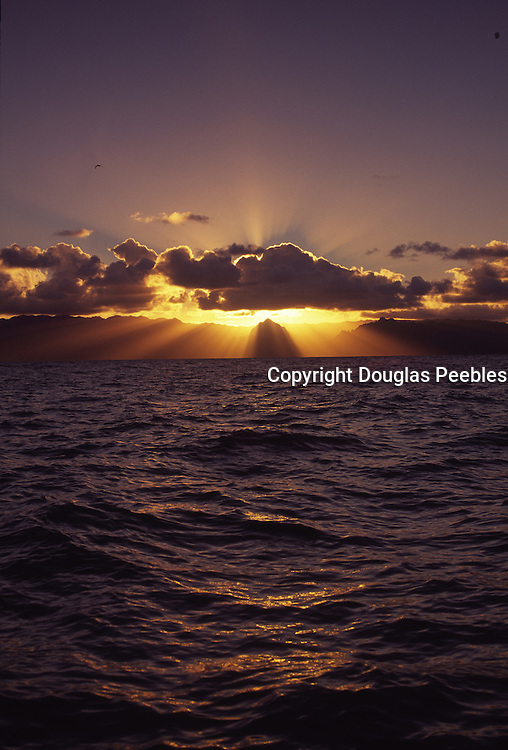 Sunset over Ko'olau Mountains, Windward Oahu, Hawaii<br />