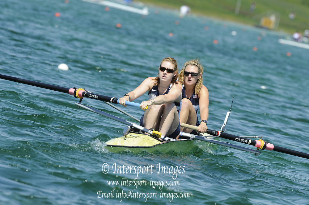 Munich, GERMANY, USA W2-, Bow Eleanor LOGAN and Caroline LIND, during the FISA World Cup at the Munich Olympic Rowing Course, Thur's.  08.05.2008  [Mandatory Credit Peter Spurrier/ Intersport Images] Rowing Course, Olympic Regatta Rowing Course, Munich, GERMANY