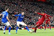Liverpool midfielder Georginio Wijnaldum (5) scores a goal 5-2 during the Premier League match between Liverpool and Everton at Anfield, Liverpool, England on 4 December 2019.
