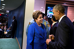 President Barack Obama greets President Dilma Rousseff of Brazil at the United Nations, prior to addressing the United Nations General Assembly in New York, N.Y., Sept. 24, 2014. (Official White House Photo by Pete Souza)<br /> <br /> This official White House photograph is being made available only for publication by news organizations and/or for personal use printing by the subject(s) of the photograph. The photograph may not be manipulated in any way and may not be used in commercial or political materials, advertisements, emails, products, promotions that in any way suggests approval or endorsement of the President, the First Family, or the White House.