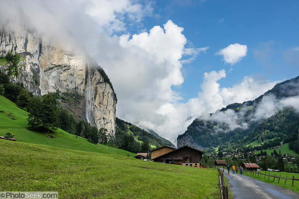 Lauterbrunnen village is in the canton of Bern, Switzerland, the Alps, Europe.