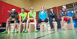 06.05.2013, Volksschule, Dorf an der Pram, AUT, OeSV, Sommer Einkleidung, im Bild vl. Andreas Prommegger (Snowboard OeSV), Bernhard Gruber(Nordische Kombination OeSV), Dominik Landertinger (Biathlon OeSV), Marlies Schild (Ski Alpin OeSV), Marcel Hirscher (Ski Alpin OeSV) und Gregor Schlierenzauer (Skisprung OeSV) // during Summer outfitting of Austrian Ski Federation at the elementary school, Dorf an der Pram, Austria on 2013/05/06. EXPA Pictures © 2013, PhotoCredit: EXPA/ Juergen Feichter