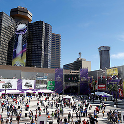 Feb 3, 2013; New Orleans, LA, USA; A general view as football fans gather in a fan plaza before Super Bowl XLVII between the San Francisco 49ers and the Baltimore Ravens at the Mercedes-Benz Superdome. Mandatory Credit: Derick E. Hingle-USA TODAY Sports