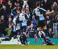 Paris Cowan-Hall of Wycombe Wanderers (right rear) celebrates scoring the opening goal against Wycombe Wanderers during the Sky Bet League 2 match at Adams Park, High Wycombe<br /> Picture by David Horn/Focus Images Ltd +44 7545 970036<br /> 26/12/2014