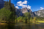 Yosemite Falls above the Merced River, Yosemite National Park, California USA