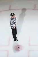 KELOWNA, CANADA - FEBRUARY 27: Linesman, Cody Wanner stands at the face off on February 27, 2016 at Prospera Place in Kelowna, British Columbia, Canada.  (Photo by Marissa Baecker/Shoot the Breeze)  *** Local Caption *** Cody Wanner; linesman; official;
