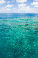 Clear, turquoise waters on the Great Barrier Reef in tropical northern Queensland, Australia
