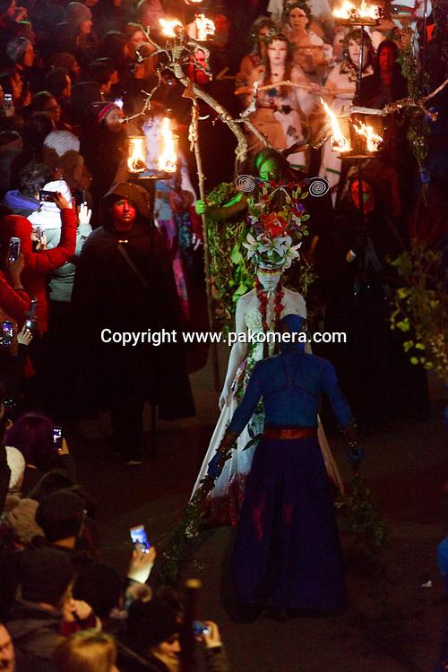 Edinburgh, Scotland, UK. 30th April 2017. Beltane Fire Festival plays host to a cavalcade of colourful characters and a narrative guides the night at Calton Hill, Edinburgh . Pako Mera