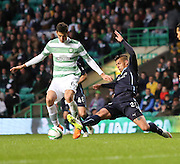 Dundee's Luka Tankulic tackles Celtic&rsquo;s Nir Biton -  Celtic v Dundee - SPFL Premiership at Celtic Park<br /> <br /> <br />  - &copy; David Young - www.davidyoungphoto.co.uk - email: davidyoungphoto@gmail.com
