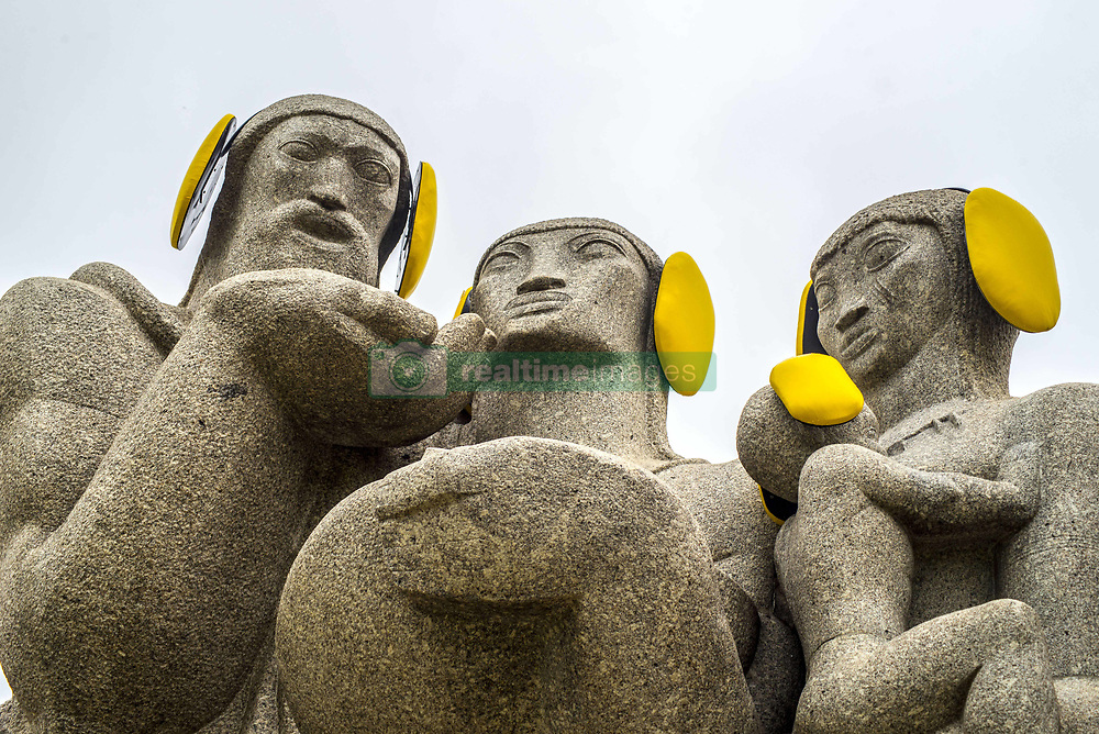 April 26, 2017 - Sao Paulo, Brazil - The monument to the Bandeiras is seen with yellow ear protectors on the 'International Noise Awareness Day'. (Credit Image: © Cris Faga via ZUMA Wire)