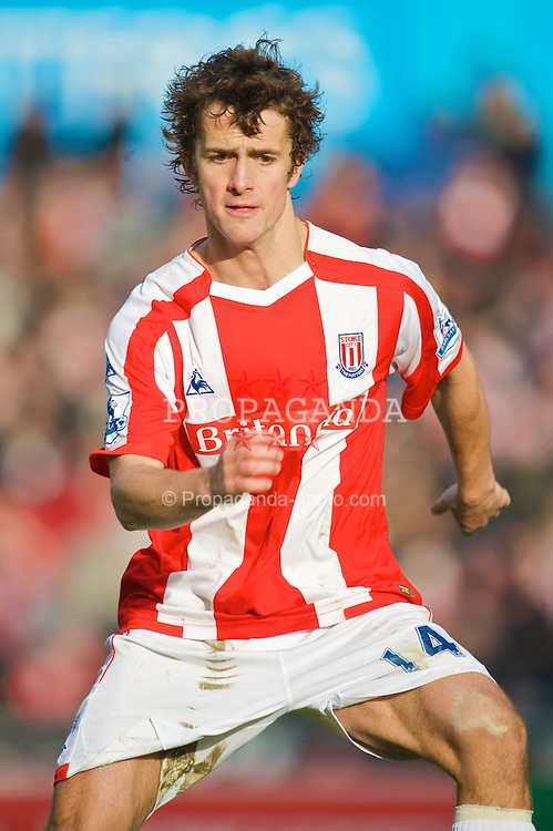 STOKE-ON-TRENT, ENGLAND - Saturday, January 31, 2009: Stoke City's Danny Pugh in action against Manchester City during the Premiership match at the Britannia Stadium. (Mandatory credit: David Rawcliffe/Propaganda)