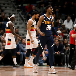 Jan 30, 2019; New Orleans, LA, USA; Denver Nuggets guard Malik Beasley (25) reacts after scoring against the New Orleans Pelicans during the second half at the Smoothie King Center. Mandatory Credit: Derick E. Hingle-USA TODAY Sports