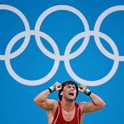 Sardar Hasanov of Azerbaijan reacted to failing on his clean and jerk lift of 181kg in the men's 69kg Group B competition at the ExCel centre during the 2012 Summer Olympic Games in London, England, Tuesday, July 31, 2012. (David Eulitt/Kansas City Star/MCT)