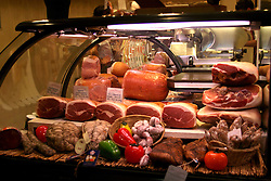 A typical meat market in Northern Italy.