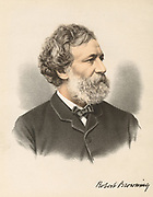 Robert Browning (1812-1889) English poet and dramatist. From 'The Modern Portrait Gallery', Cassell, Petter & Galpin, London c.1880. Tinted lithograph.