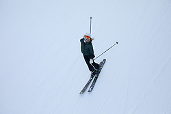 woman enjoying skiing