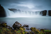 Goðafoss waterfall in North Iceland. In Icelandic the name means the watefall of the (norse) gods. The water of the river Skjálfandafljót falls here from a height of 12 meters over a width of 30 meters.