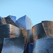 BILBAO, SPAIN -August 2018- Exterior view of the Guggenheim Museum Bilbao, a modern and contemporary art museum designed by famous architect Frank Gehry in Bilbao, Basque Country, Spain.