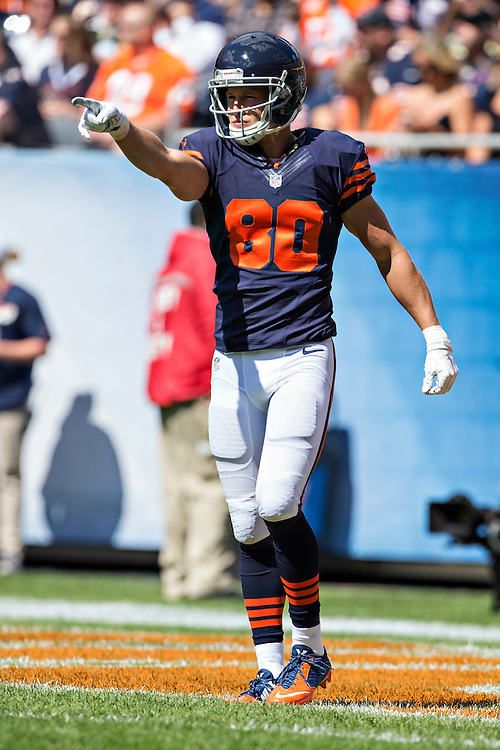 CHICAGO, IL - SEPTEMBER 13:  Marc Mariani #80 of the Chicago Bears points to the sidelines before the opening kickoff before a game against the Green Bay Packers at Soldier Field on September 13, 2015 in Chicago, Illinois.  The Packers defeated the Bears 31-23.  (Photo by Wesley Hitt/Getty Images) *** Local Caption *** Marc Mariani