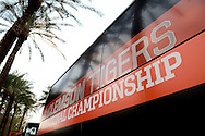 Jan 8, 2016; Scottsdale, AZ, USA; Clemson Tigers buses arrive at the Hyatt Regency Scottsdale Resort at Gainey Ranch. Mandatory Credit: Jennifer Stewart-USA TODAY Sports