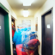 Entering Corbet's Cabin via the early tram at Jackson Hole Mountain Resort.