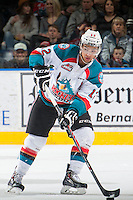KELOWNA, CANADA - MARCH 7: Tyrell Goulbourne #12 of Kelowna Rockets skates with the puck against the Spokane Chiefs on March 7, 2015 at Prospera Place in Kelowna, British Columbia, Canada.  (Photo by Marissa Baecker/Shoot the Breeze)  *** Local Caption *** Tyrell Goulbourne;