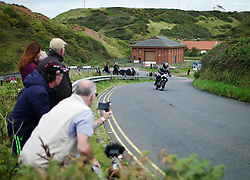 &copy; Licensed to London News Pictures. <br /> 10/09/2017 <br /> Saltburn by the Sea, UK.  <br /> <br /> An entrant rides his motorcycle during the annual Saltburn by the Sea Historic Gathering and Hill Climb event. Organised by Middlesbrough and District Motor Club the event brings together owners of a wide range of classic cars and motorcycles dating from the early 1900's to 1975. Participants take part in a hill climb to test their machines up a steep hill near the town. Once held as a competitive gathering a change in road regulations forced the hill climb to become a non-competitive event.<br /> <br /> Photo credit: Ian Forsyth/LNP