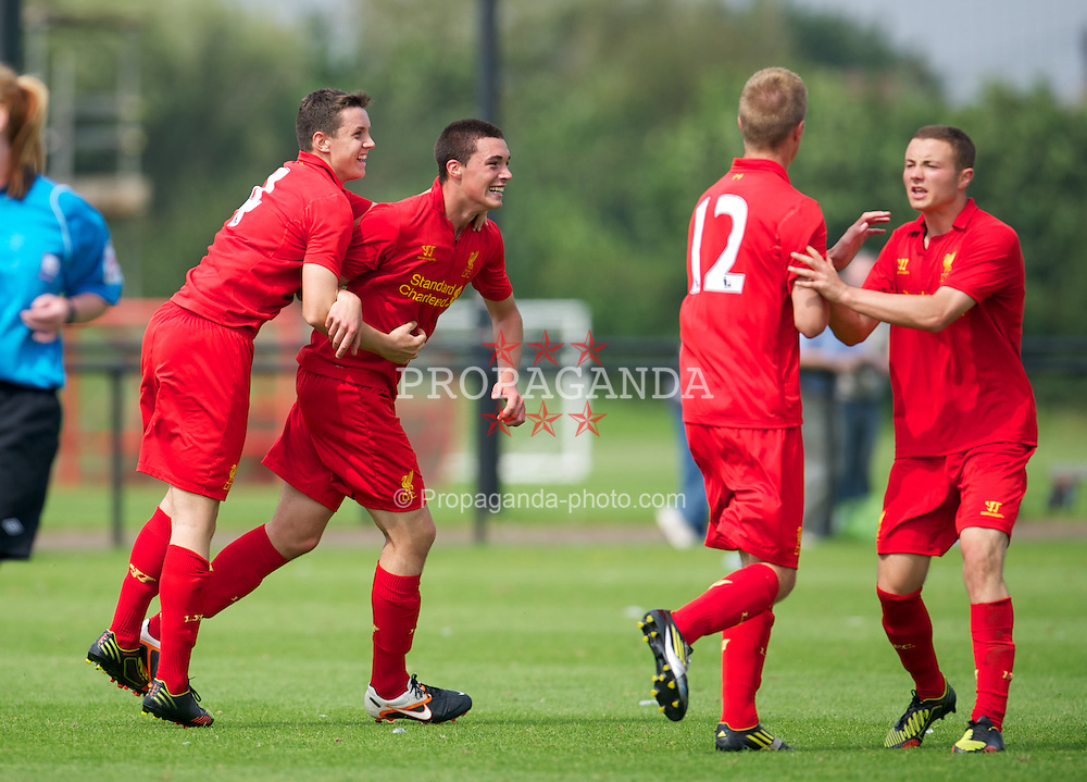 KIRKBY, ENGLAND - Saturday, August 11, 2012: Liverpool's Lloyd Jones celebrates scoring the second goal against Nottingham Forest to level the scores 2-2 during a friendly match at the Kirkby Academy. (Pic by David Rawcliffe/Propaganda)