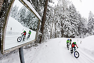 Roberto Palomar from Spain during stage 5 of the first Snow Epic, the Trübsee climb near Engelberg, in the heart of the Swiss Alps, Switzerland on the 17th January 2015<br /> <br /> <br /> Photo by:  Marc Gasch / Snow Epic / SPORTZPICS