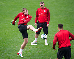 CARDIFF, WALES - Monday, October 15, 2012: Wales' Sam Vokes during a training session at the Cardiff City Stadium ahead of the Brazil 2014 FIFA World Cup Qualifying Group A match against Croatia. (Pic by David Rawcliffe/Propaganda)