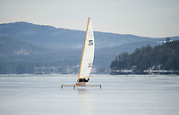 Ice Sailing on Lake Winnipesaukee with the New England Ice Yacht Association.   ©2016 Karen Bobotas Photographer