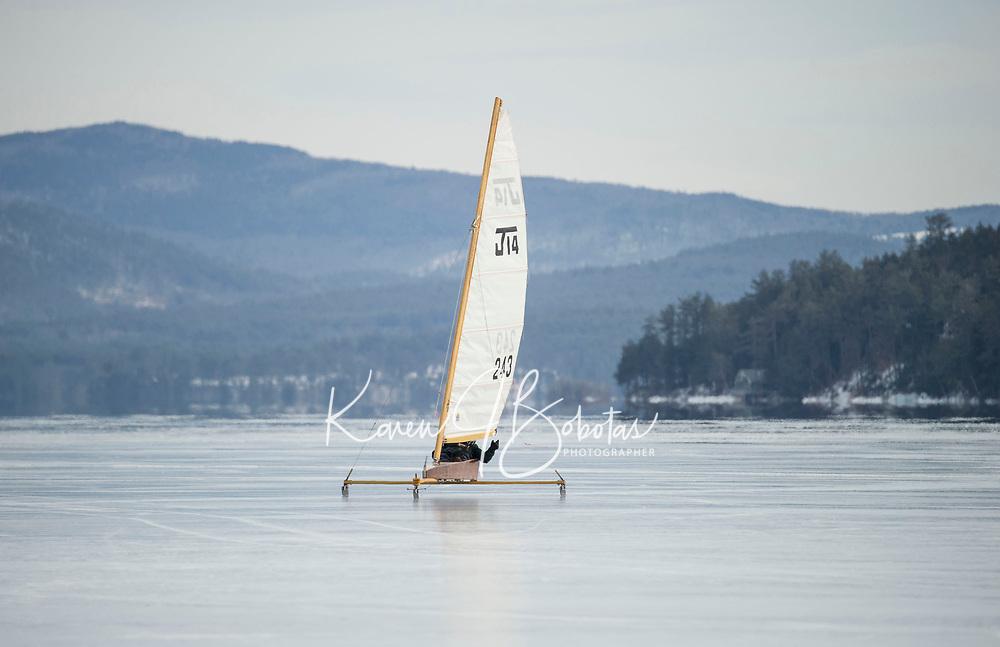 Ice Sailing on Lake Winnipesaukee with the New England Ice Yacht Association.   ©2016 Karen Bobotas Photographer