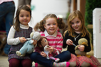 "21/01/2016  Ali Evans with ""Rosie, Abbie Connell, with ""Dr. McStuffin"" and Niamh Heskin with, ""Ducky"" from Scoil Bhride, Mionloch Galway at the 11th Annual Teddy Bear Hospital in NUI, Galway where Med students get used to dealing with kids and Kids get used to a hospital setting with their sick teddy bears.Photo:Andrew Downes"