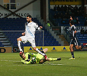 Ross County&rsquo;s Scott Fox saves at the feet of Dundee&rsquo;s Kane Hemmings - Ross County v Dundee, Ladbrokes Premiership at Victoria Park<br /> <br />  - &copy; David Young - www.davidyoungphoto.co.uk - email: davidyoungphoto@gmail.com