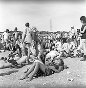 The crowd at the Pyramid Stage, Glastonbury, Somerset, 1989
