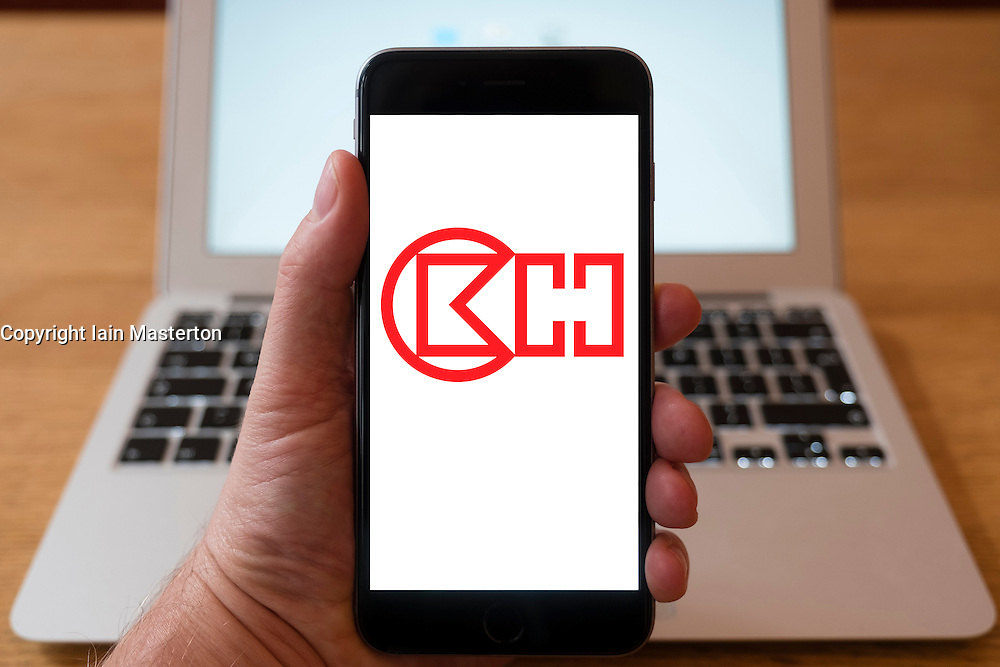 Using iPhone smartphone to display logo of CK Hutchison Holdings