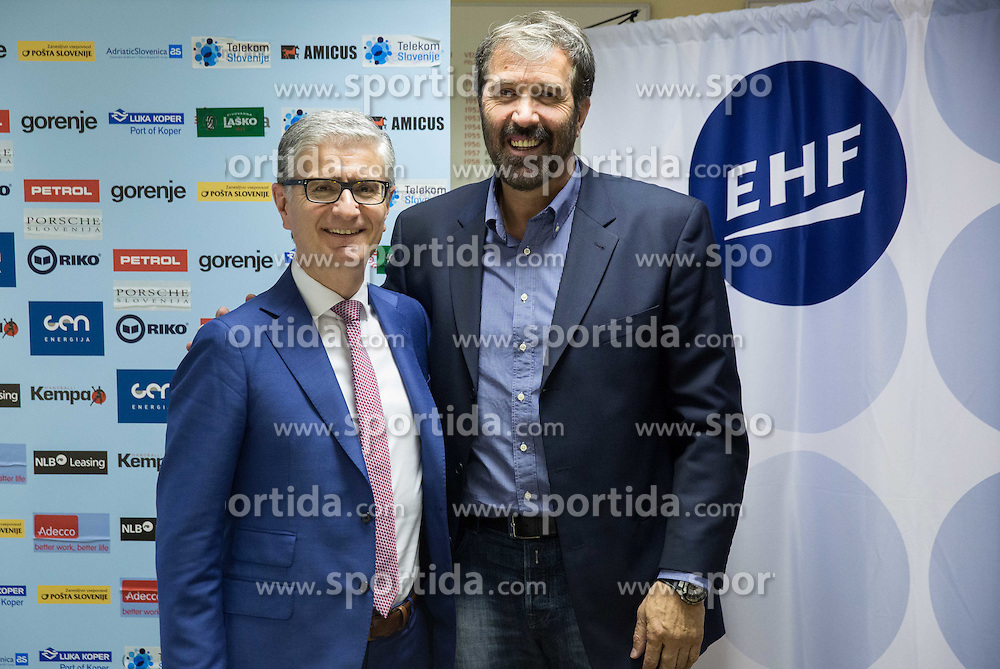 Franjo Bobinac, president of RZS and Veselin Vujovic after voting of RZS - Handball federation of Slovenia for a new head coach of Slovenian National Handball Men Team, on May 27, 2015 in RZS, Ljubljana, Slovenia. Photo by Vid Ponikvar / Sportida
