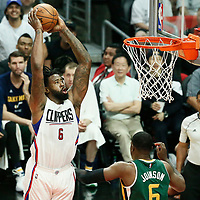 30 April 2017: LA Clippers center DeAndre Jordan (6) goes for the dunk during the Utah Jazz 104-91 victory over the Los Angeles Clippers, during game 7 of the first round of the Western Conference playoffs, at the Staples Center, Los Angeles, California, USA.