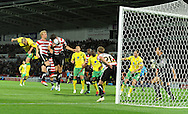 Doncaster - Tuesday September 14th, 2010: Norwich City's Andrew Crofts came close with this header during the NPower Championship match at Keepmoat Stadium, Doncaster. (Pic by Dave Howarth/Focus Images)