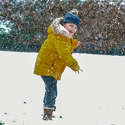 Snow in West Lothian, 10 February 2020<br /> <br /> Following on from the destruction of Storm Ciara, heavy snow started to fall in West Lothian this afternoon<br /> <br /> Pictured: A young girl has fun in the snow<br /> <br /> Alex Todd | Edinburgh Elite media