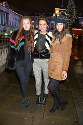 Left to right, OLIVIA GRANT, ROSANNA FALCONER and SARAH ANN MACKLIN at Skate At Somerset House with Fortnum & Mason on 16th November 2016.