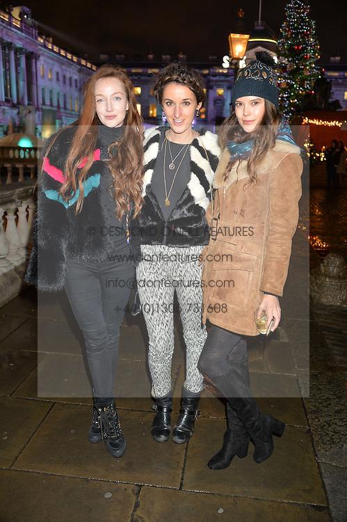 Left to right, OLIVIA GRANT, ROSANNA FALCONER and SARAH ANN MACKLIN at Skate At Somerset House with Fortnum & Mason on 16th November 2016.