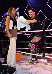 Natalie Pinkham ringside with the Artist at the Boodles Boxing Ball, in association with Argentex and YouTube in Support of Hope and Homes for Children at Old Billingsgate London, United Kingdom - 7 Jun 2019 Photo Dominic O'Neil