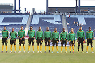 16 October 2014: Jamaica's starters. From left: Venicia Reid (JAM), Christina Murray (JAM), Shakira Duncan (JAM), Monique Pryce (JAM), Sherona Forrester (JAM), Sashana Campbell (JAM), Nicole Campbell-Green (JAM), Donna-Kay Henry (JAM), Lauren Silver (JAM), Nicole McClure (JAM), and Alicia Wilson (JAM). The Jamaica Women's National Team played the Martinique Women's National Team at Sporting Park in Kansas City, Kansas in a 2014 CONCACAF Women's Championship Group B game, which serves as a qualifying tournament for the 2015 FIFA Women's World Cup in Canada. Jamaica won the game 6-0.