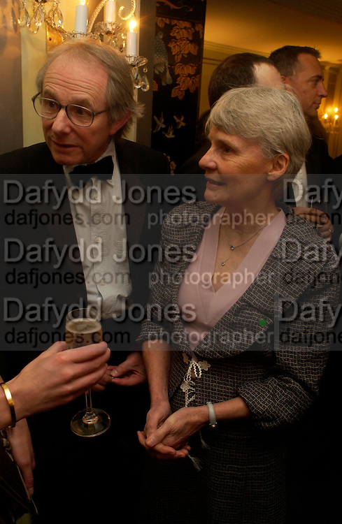 Mr. and Mrs. Ken Loach. 25th  annual Awards of the London critic's Circle in aid of the NSPCC. The Dorchester. Park Lane. London. 9 February 2005. ONE TIME USE ONLY - DO NOT ARCHIVE  © Copyright Photograph by Dafydd Jones 66 Stockwell Park Rd. London SW9 0DA Tel 020 7733 0108 www.dafjones.com