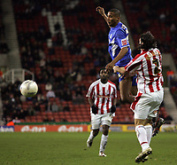 Photo: Paul Thomas.<br /> Stoke City v Millwall. The FA Cup. 05/01/2007.<br /> <br /> Chris Zebroski (Blue) of Millwall heads for goal but with no luck in scoring.