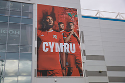 CARDIFF, WALES - Thursday, September 6, 2018: Cymru branding outside the stadium before the UEFA Nations League Group Stage League B Group 4 match between Wales and Republic of Ireland at the Cardiff City Stadium. (Pic by Laura Malkin/Propaganda)