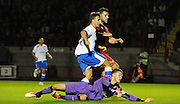 Matt Tubbs chips the ball over Freddie Woodman into the net only for it to be disallowed during the Sky Bet League 2 match between Crawley Town and Portsmouth at the Checkatrade.com Stadium, Crawley, England on 18 August 2015. Photo by Michael Hulf.